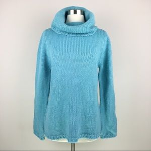 NWT NY&C Chunky Sky Blue Cowl Neck Sweater XL